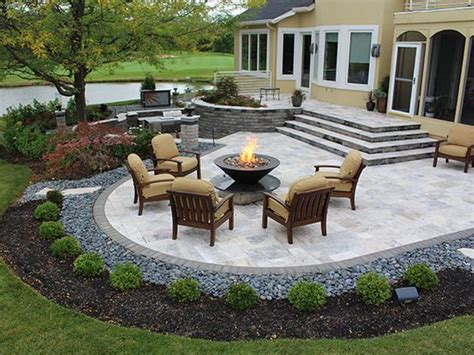 pictures of patios stairs firepit paver patio with travertine back yards