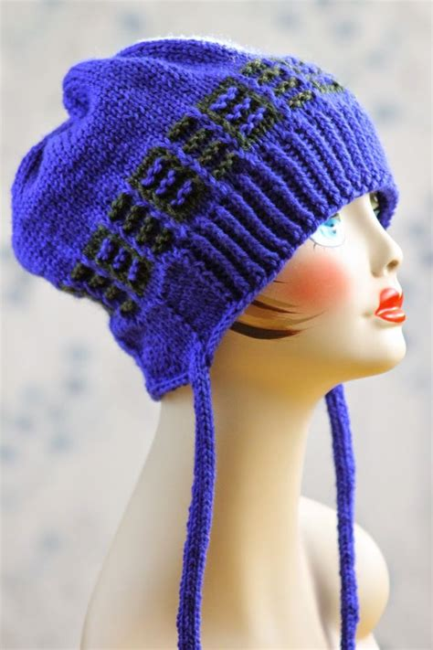 knit hat size 8 needles ridges fauxflap hat made with roughly 150 yards of