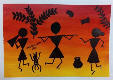 using poster paint warli painting modified using poster colors