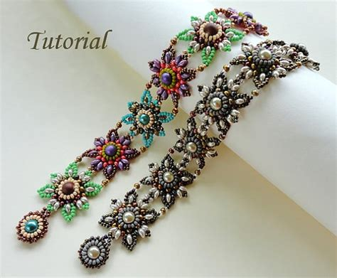 seed bead bracelet patterns and jeweled tiles beaded bracelet beading tutorials and