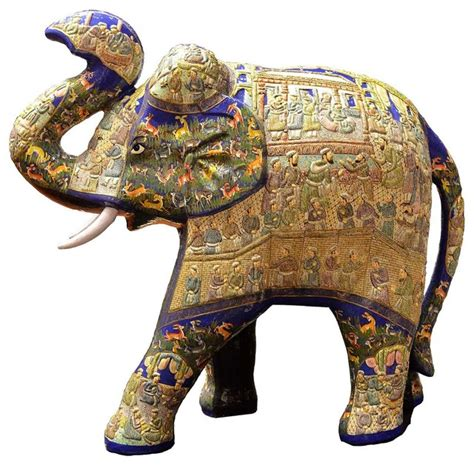 Dining Room Pendant Lighting blue decorative papier mache embossed elephant sculpture