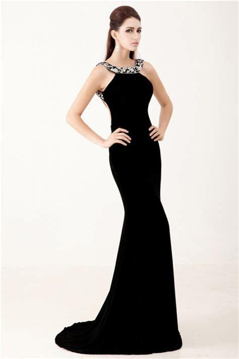 backless beaded prom dress mermaid backless black chiffon beaded formal evening