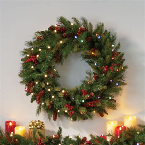 lit wreaths pre lit cone berry battery operated wreath