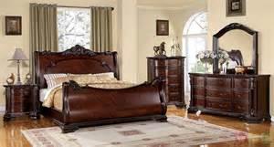 cherry bedroom furniture set bellefonte baroque brown cherry sleigh bedroom set with
