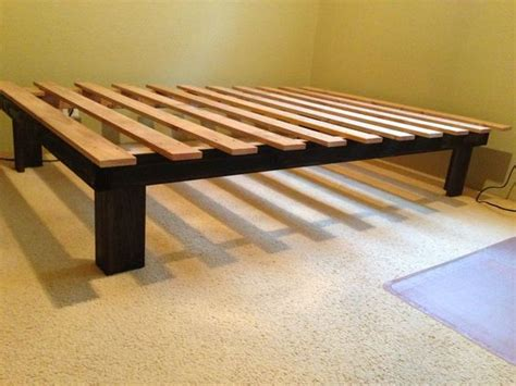 diy low bed frame cheap easy low waste platform bed plans 4x4 platform
