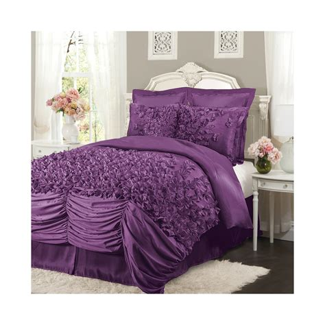 king size purple comforter sets lush lucia purple ruffled king size 4 comforter set