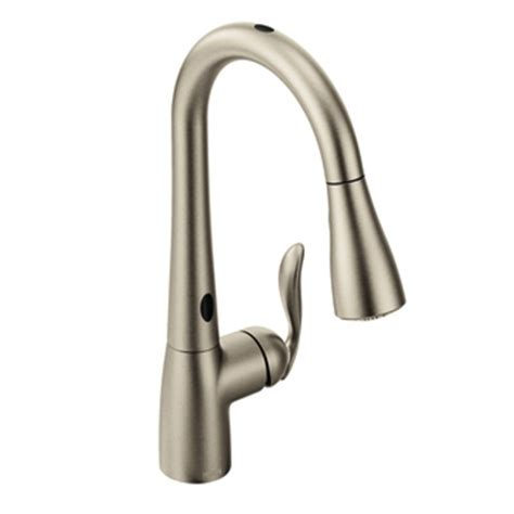 moen 7594esrs arbor single handle pull kitchen faucet with motionsense spot resist