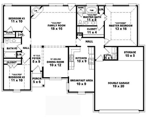 single story 4 bedroom house plans 653797 one story 3 bedroom 2 bath traditional