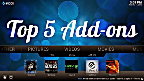 5 add ons top 5 kodi add ons in 2015 tutorialxware