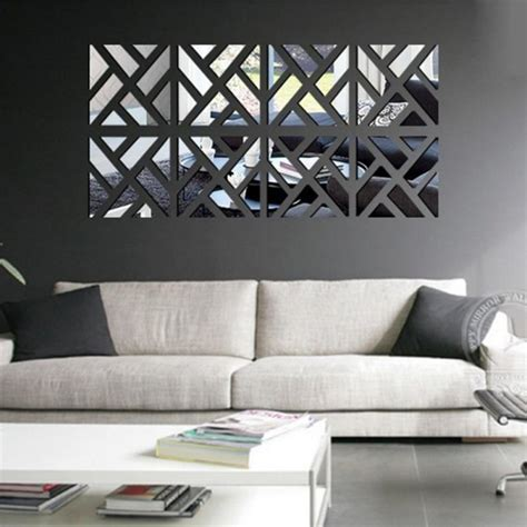 deco wall sticker new 3d acrylic mirror wall stickers square living room