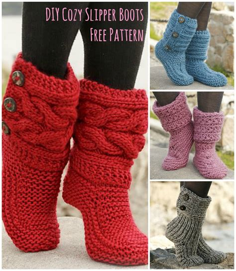 free slipper patterns to knit or crochet cutest knitted diy free pattern for cozy slipper boots