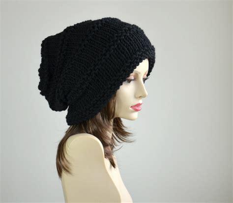 black knit hat winter hat knit hat slouchy beanie beanie black hat