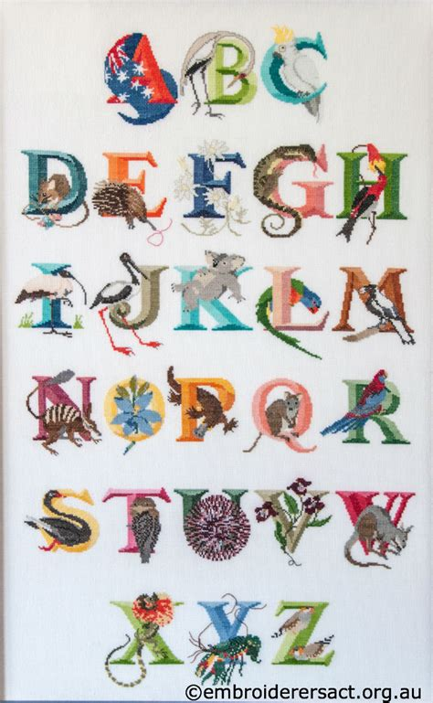 alphabet australia australian alphabet stitched by gail haidon embroiderers
