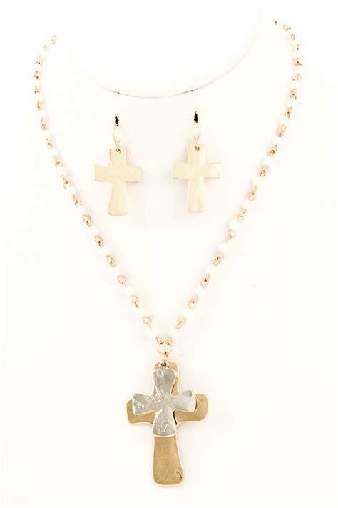 bead cross necklace beaded metal cross pendant necklace set necklaces