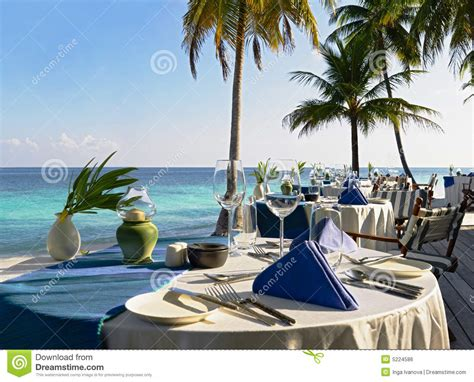 Kitchen Island Prices table setting at beach restaurant royalty free stock image