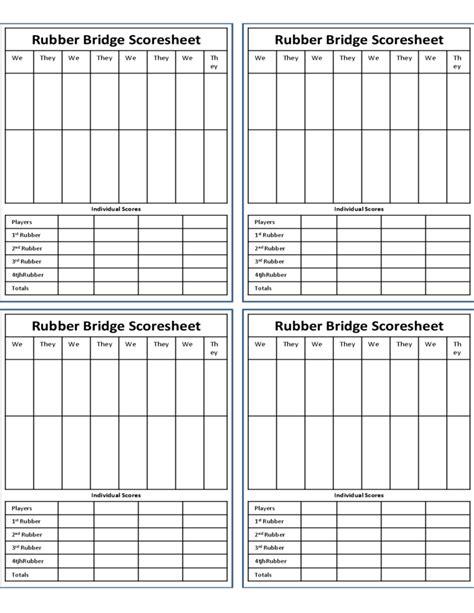 rubber st sheet rubber bridge score sheet free
