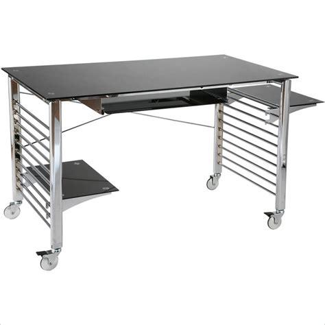 metal computer desk eurostyle brichi metal on casters black chrome computer