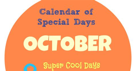 unique holidays creative chaos october calendar of special days and