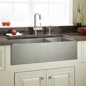 stainless farmhouse kitchen sinks 36 quot optimum 70 30 offset bowl stainless steel