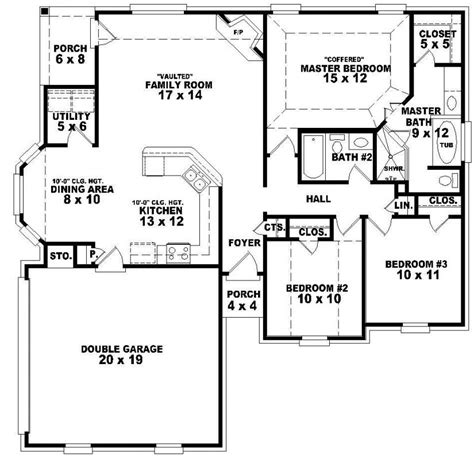 1 floor 3 bedroom house plans 654048 one story 3 bedroom 2 bath traditional