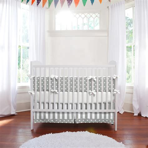 gray and white crib bedding sets gray and white dots and stripes 3 crib bedding set
