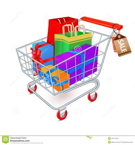 gift shopping shopping cart emblem stock vector image of present