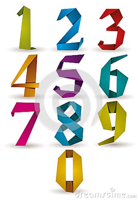how to make origami numbers origami style numbers set stock vector image 42983339