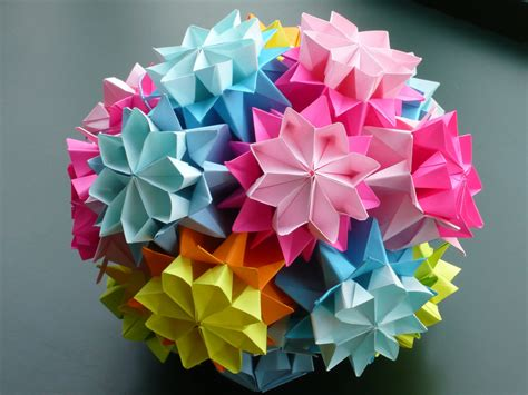 origami kusudama flower kusudama quot bouquet of primula quot from tomoko fuse s