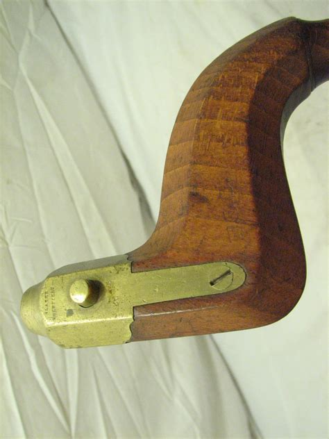 Antique Slater Sheffield Wood Brass Brace W Rosewood Pad
