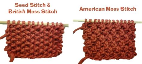 seed stitch knitting in the seed stitch vs moss stitch is there a difference