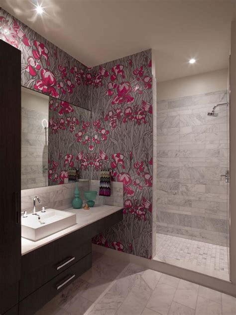 designer bathroom wallpaper salle de bain design feria