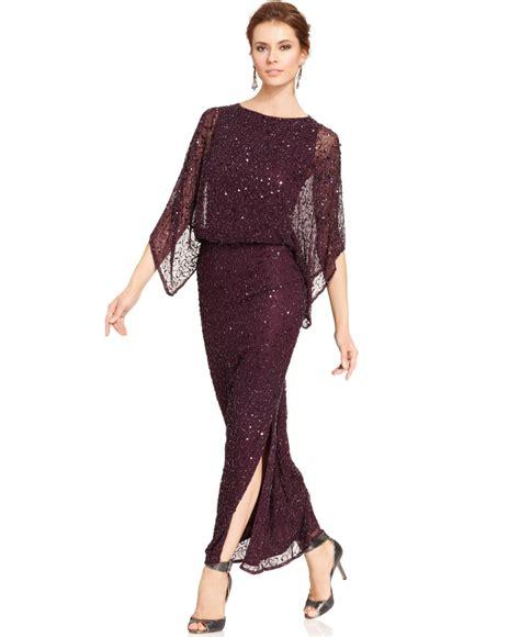 patra plus size kimono sleeve beaded dress patra kimono sleeve beaded blouson gown in purple plum