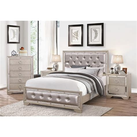 4 bedroom furniture sets abbyson living beaumont leather tufted 4 king