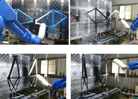 spray painting by robot trained robot autonomously spray paints bicycle frames