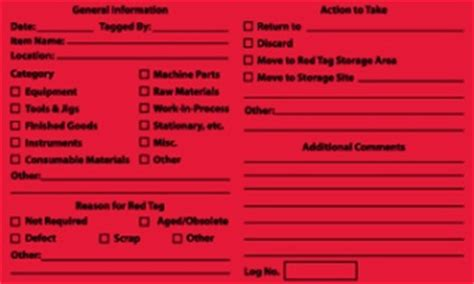 5s red tag labels 5 pack