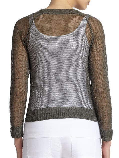open knit sweater eileen fisher linen cotton open knit sweater in green lyst