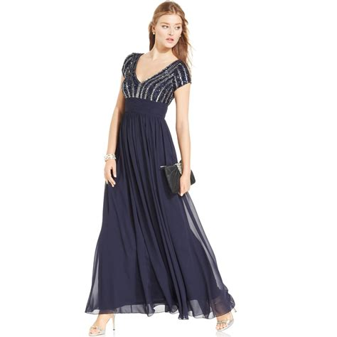 Js Collections Capsleeve Beaded Chiffon Gown In Blue Navy
