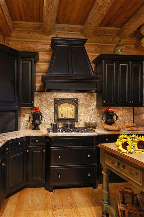 rustic black kitchen cabinets rustic log cabin kitchen