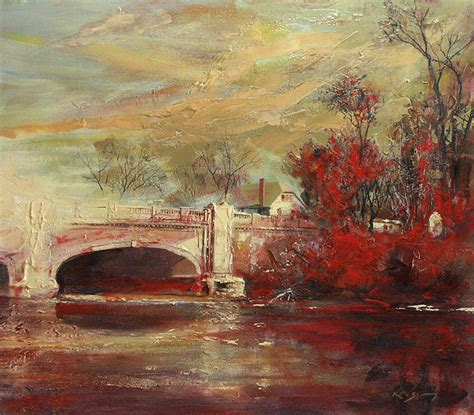 painting indiana fall creek bridge indianapolis by larry kaiser