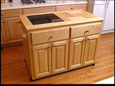 rolling islands for kitchens make a roll away kitchen island hgtv