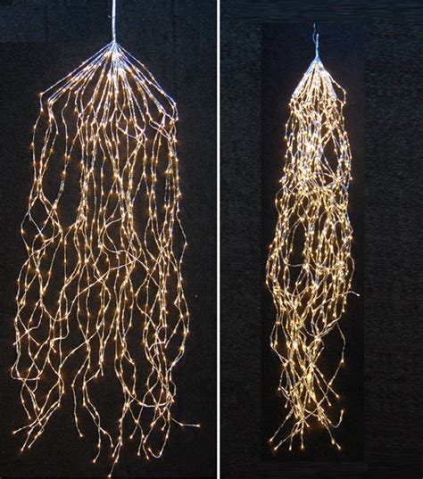 white cable tree lights led cascading lights warm white with transparent cable