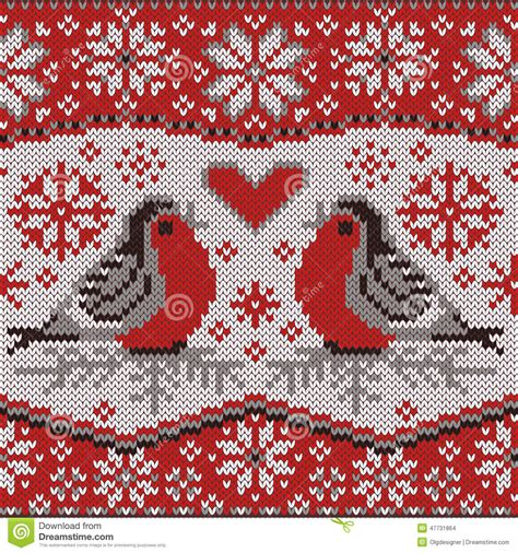 nordic knitting greeting card with bullfinches nordic knitted pattern