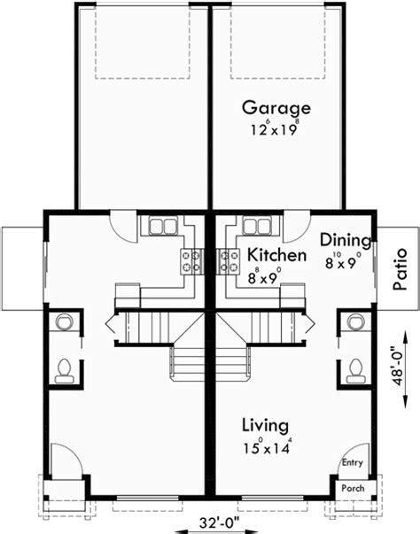 duplex plans for narrow lots duplex house plans narrow lot duplex house plans d 543