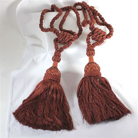 beaded tassels set of beaded vintage tie backs with large tassels