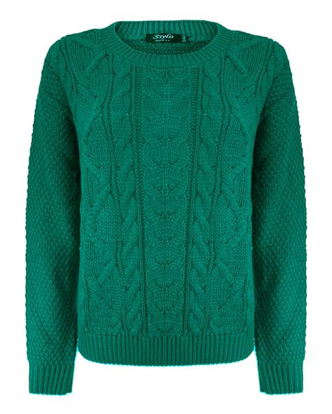 chunky knit jumper womens knitted crew neck sleeve cable knit