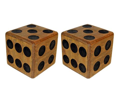 large wooden two large wooden dice