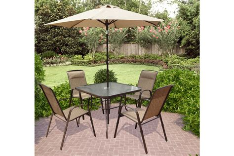 5 patio set with umbrella corliving 5 patio dining set with tilting umbrella
