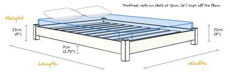 bed frame sizes low platform bed