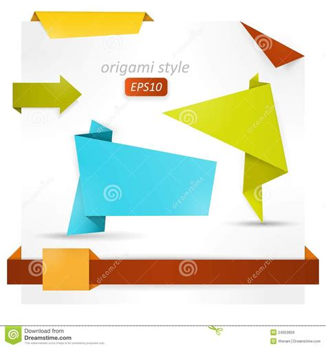 origami style origami style speech banner paper shapes royalty free