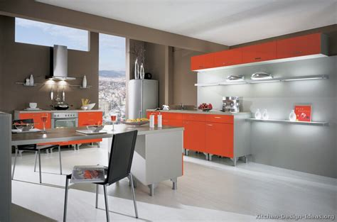 Two Color Kitchen Cabinet Ideas pictures of modern orange kitchens design gallery